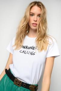T-shirt Effimero ricamata Pinkoness calling bianca Pinko