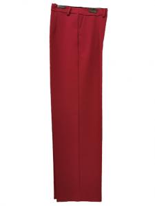 Pantalone donna in tessuto tecnico | color ciliegia | con tasche laterali | a sigaretta | con pinces | stretto al fondo | con risvolto |Made in Italy