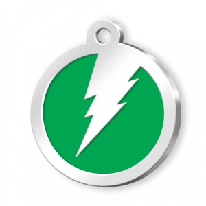 Medaglietta Pet verde con fulmine cm.3x3x0,2h