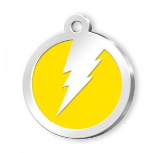 Medaglietta Pet gialla con fulmine cm.3x3x0,2h
