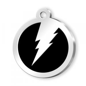 Medaglietta Pet nera con fulmine cm.3x3x0,2h