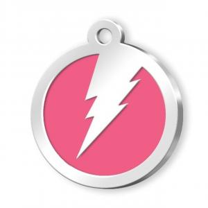 Medaglietta Pet rosa con fulmine cm.3x3x0,2h