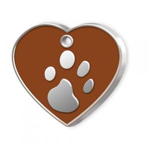 Medaglietta Pet cuore marrone e zampa cm.3,2x3,8x0,2h