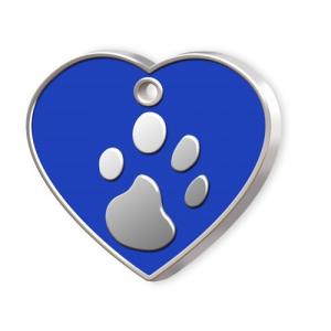 Medaglietta Pet cuore blu e zampa cm.3,2x3,8x0,2h