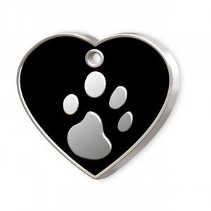 Medaglietta Pet cuore nero e zampa cm.3,2x3,8x0,2h