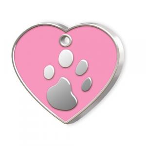 Medaglietta Pet cuore rosa e zampa cm.3,2x3,8x0,2h