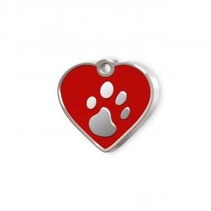 Medaglietta Pet piccolo cuore rosso e zampa cm.2,5x2,5x0,2h