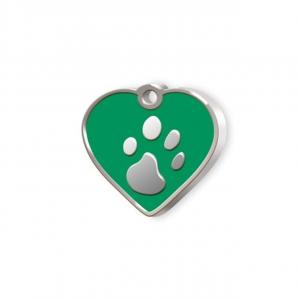 Medaglietta Pet piccolo cuore verde e zampa cm.2,5x2,5x0,2h