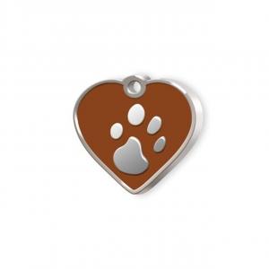 Medaglietta Pet piccolo cuore marrone e zampa cm.2,5x2,5x0,2h