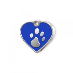 Medaglietta Pet piccola cuore blu e zampa cm.2,5x2,5x0,2h