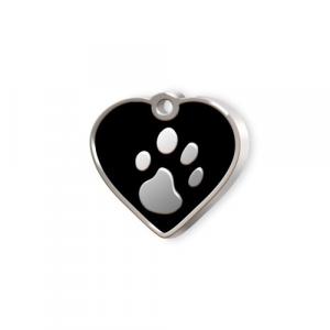Medaglietta Pet piccola cuore nero e zampa cm.2,5x2,5x0,2h