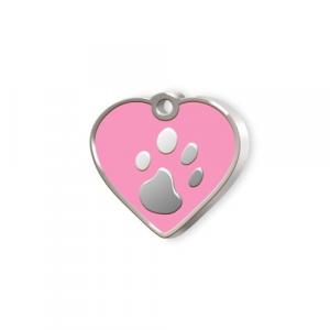 Medaglietta Pet piccola cuore rosa e zampa cm.2,5x2,5x0,2h