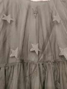 Abito donna nero in tulle | manica lunga trasparente | con stelline in rilievo |tagliato in vita | Made in Italy