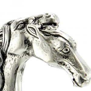 Bastone da passeggio in legno e peltro impugnatura cavallo