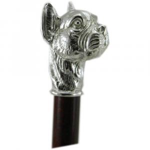 Bastone da passeggio in legno e peltro impugnatura cane boxer