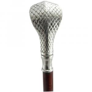 Bastone da passeggio elegante in legno con impugnatura in peltro cobra occhi rossi
