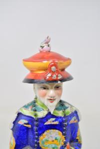 Statua In Porcellana Cinese Uomo Nobile Vestito Blu Alta 28 Cm Dipinta A Mano