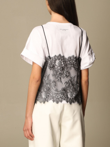 T-shirt con top in pizzo philosophy di lorenzo serafini