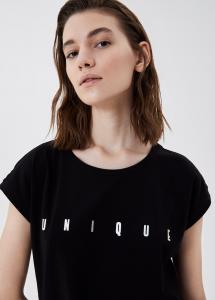 LIU JO TA1159J5003 T-shirt con stampa e borchie