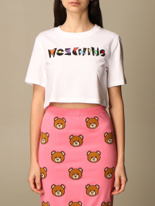 T-shirt bianca a scatoletta  moschino couture