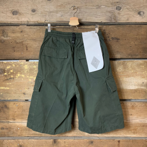 Pantaloncino Amish Supplies Uomo Cargo Popeline Verde Militare