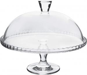 Alzata dolci pasticceria in vetro trasparente con campana cm.32,8x33x19,5h