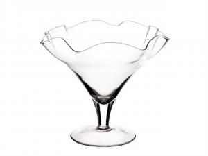 Vaso coppa smerlata in vetro trasparente