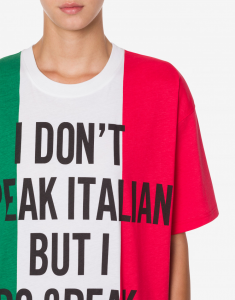 T-shirt in jersey italian slogan moschino couture