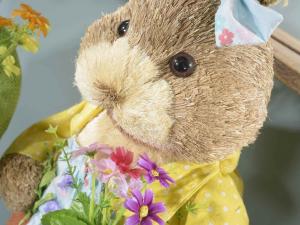 Coppia di conigli grandi 67 cm in fibra naturale