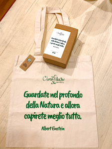 Bag Sostenibile in Cotone Biologico con Frase di Albert Einstein