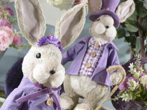Coppia di conigli campagnoli in fibra naturale