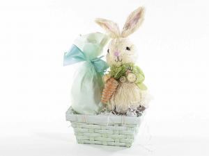Coppia di coniglietti in fibra naturale con carota
