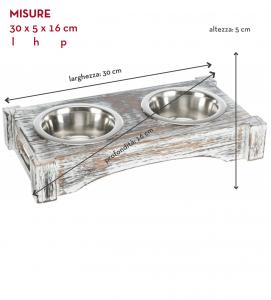 Trixie - Set Ciotole Legno/Acciaio Inox  - 2x0.2 L