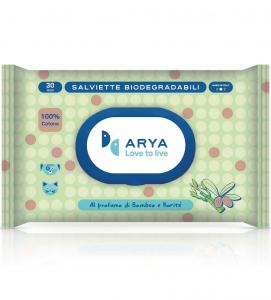 Arya - Salviette detergenti Biodegradabili - 2 confezioni da 30 pezzi