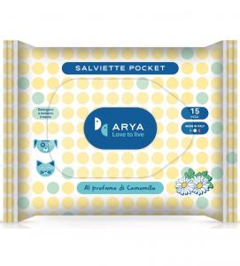 Arya - Salviette Detergenti Pocket - Camomilla - confezione da 15 pezzi