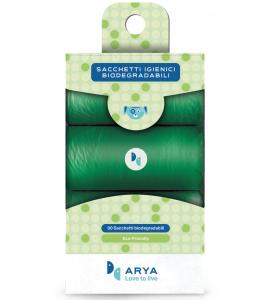 Arya - Sacchetti Igienici Biodegradabili - 6 rotoli da 15 sacchetti