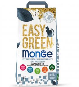 Monge - Easy Green - 100% Mais e Carboni Attivi - Lettiera vegetale e agglomerante - 10 lt