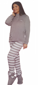 Pigiama Donna Coral Invernale Bordato con Zip Micro Pile BUCCIADIMELA DCF11617A1
