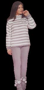 Pigiama Donna Coral Invernale Bordato con Zip Micro Pile BUCCIADIMELA DCF11617A2