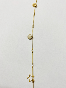 Collana lunga in ottone con ciondoli