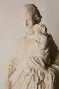 Statua Giuseppe con Bambino in Polvere di Marmo cm 40