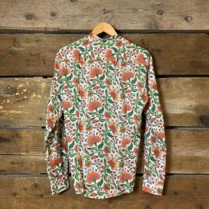 Camicia Gianni Lupo con Collo Coreano Bianca con Fantasia Floreale