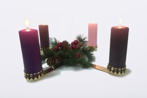 Candeliere dell'Avvento con set 4 candele
