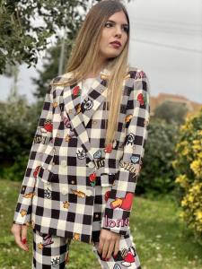 Giacca Vicolo fantasia Pop con quadri e cuori Taglia M