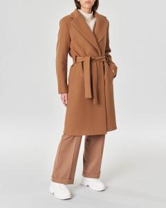 Cappotto color cammello a vestaglia scollo a rever