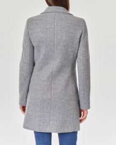 Cappottino grigio perla con scollo a rever e chiusura a bottoni tono su tono