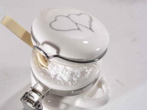 Barattolino ceramica con chiusura ermetica e cucchiaio legno