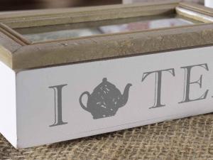 Scatola tè in legno e vetro