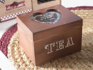 Scatola del tè spezie in legno e vetro