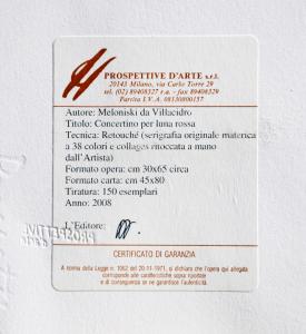 Meloniski da Villacidro Concertino per luna rossa Serigrafia retouche Form cm 80x45
